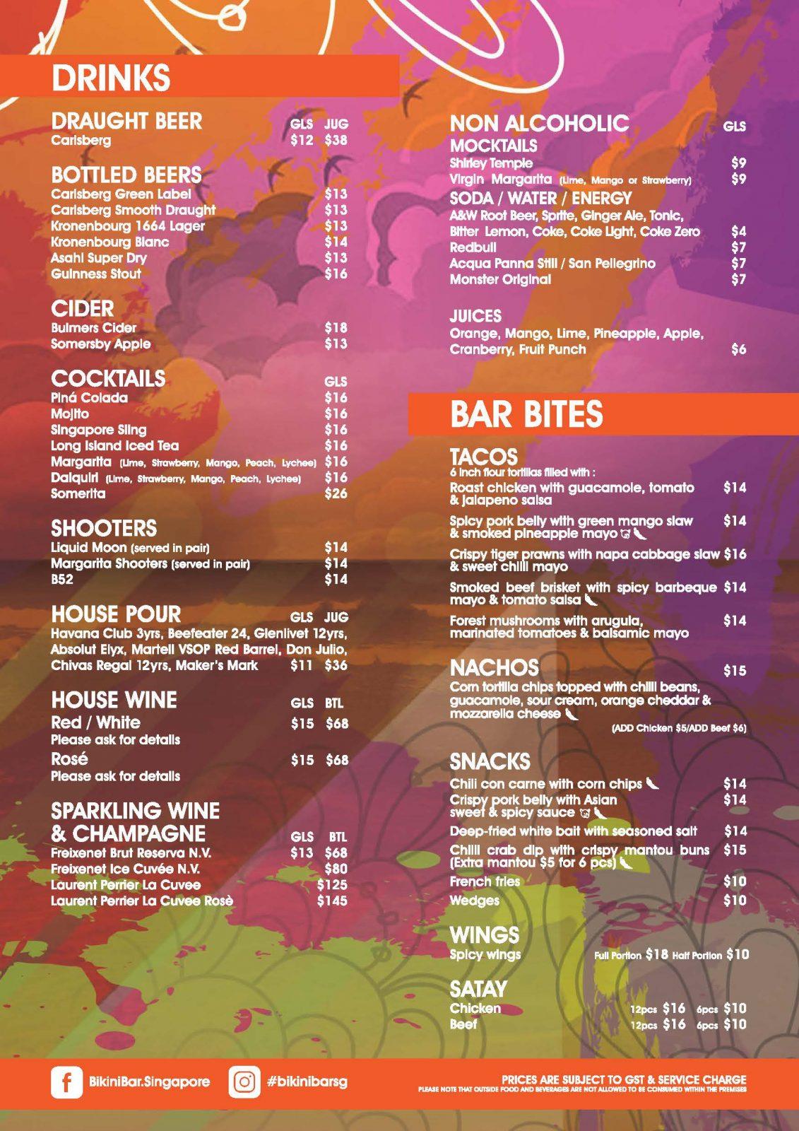 Siloso Beach Bar Menu - Bikini Bar